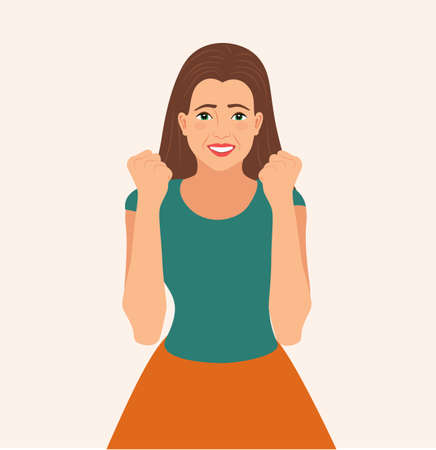 Excited woman smiles with joyful facial expression. Cheering, raising fists in supportive move smiling joyfully. Rejoice success. lucky girl celebrates victory with clenched fists, vector illustration