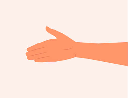 Shaking. Agreement. Greet each other. Extend the hand vector illustration. One hand gesture.