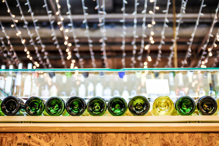 glass bottle: Selection of wines with beautiful lights as background.