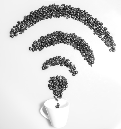 internet connection: Wifi internet connection symbol made with coffee beans Stock Photo