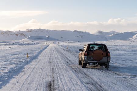 Empty road in Iceland in winter