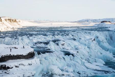 downstream: Photo of Gullfoss waterfall during winter Stock Photo