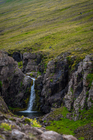 west river: Waterfall at the Akrafjall mountain in Iceland Stock Photo