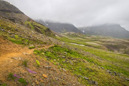 Trail at Esja mountain in Iceland