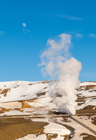 Geothermal lanscape during winter in Iceland
