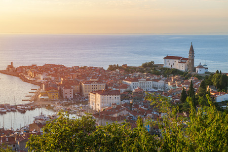 Photo of Pirano (Piran) town in Slovenia during sunset