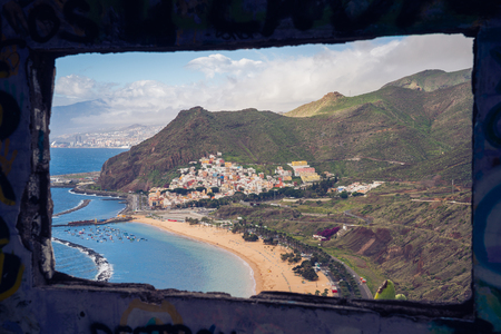 San Andres, Tenerife. Amazing coastline with beaches and tourist attractions. Anaga Mountains in the background. Photo taken from an old bunker. 스톡 콘텐츠