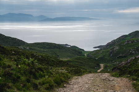 Point of Sleat. The road leading to Amazing beach aka the garden of Skye. Scotland, UK. 版權商用圖片