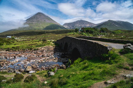 Sligachan Bridge and The Cuillin mountains, Isle of Skye, Inner Hebrides, Scotland, UK