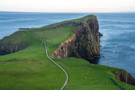 Neist Point Lighthouse, amazing tourist attraction, Scotland, UK