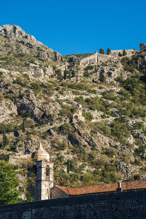 The fortifications of Kotor (Italian: Cattaro) are an integrated historical fortification system that protected the medieval town of Kotor containing ramparts, towers, citadels, gates, bastions, forts, cisterns, a castle, and ancillary buildings and structures. They incorporate military architecture of Illyria, Byzantium, Venice, and Austria. 版權商用圖片