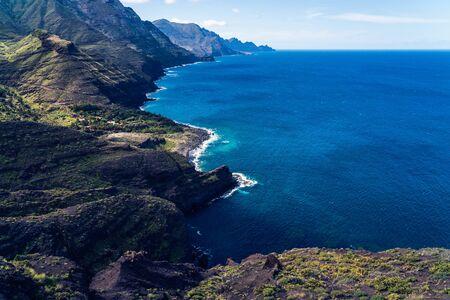 Playa de Guayedra beach, Tamadaba Natural Park on the coast of the ocean near Agaete, Las Palmas, Gran Canaria, Spain Stock Photo