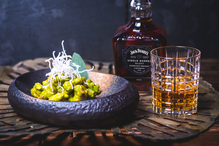 View of a bottle of whiskey.
