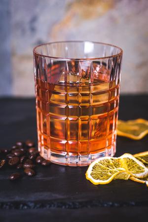 Close-up of alcohol in a glass. Archivio Fotografico