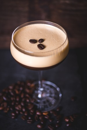 Top view of a coffee cocktail.
