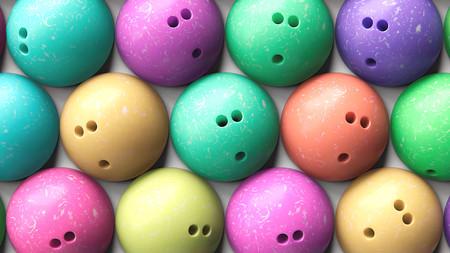 Aérea cerca de tres bolas de bolos de colores vivos Foto de archivo - 66024964