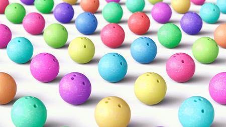 カラフルなボウリング ボール、広角の配列