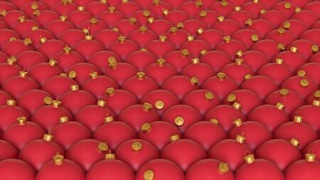 A tightly packed array of red christmas decorations with gold flakes and a gold top. This image is a 3D illustration.