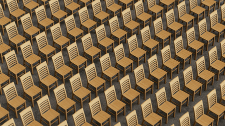 cor: A large isometric array of simple wooden chairs on carpet, all facing a single direction. This image is a 3D illustration. Stock Photo