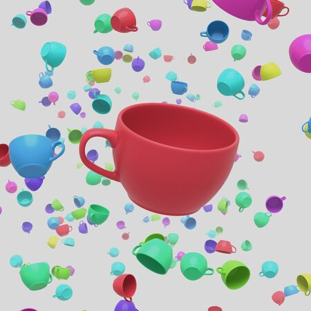 populated: A Red coffee cup in a space white space populated by other colorful coffee cups. This image is a 3D illustration. Stock Photo