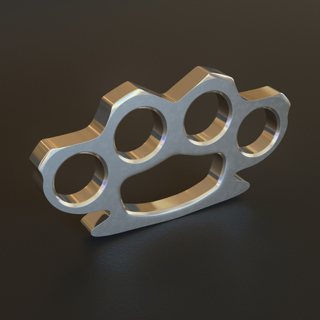 brawl: A clean and shiny knuckle duster sittings on a slightly rough reflective surface. This image is a 3D illustration.