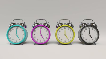 Line of four retro styled alarm clocks in cyan, magenta, yellow, and key, shot in a clean white studio environment. This image is a 3D illustration. Stock Photo