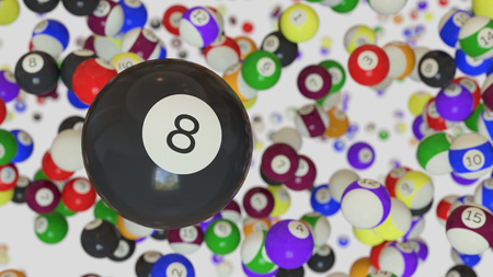 An 8 ball floating in a white space filled with assorted pool balls. This image is a 3D illustration.