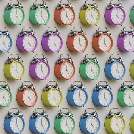 Een nette isometrische reeks van retro stijl wekkers in diverse gedempte pastels. Deze afbeelding is een 3D-afbeelding. Stockfoto - 65939731