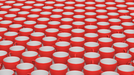 A big array of red and white coffee cups on a simple white surface. This image is a 3D illustration.