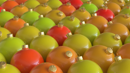 Tightly Packed Array of Round Decorations in Warm Hues. This image is a 3D illustration.
