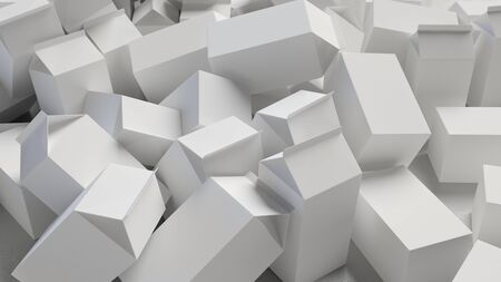 cartons: Chaotic Pile of Blank Cardboard Cartons. This image is a 3D illustration. Stock Photo
