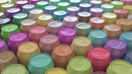 Large Array of Vibrant Pastel Soda Cans. This image is a 3D illustration.