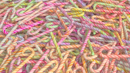 festive occasions: A mesy pile of colorful candy canes. This image is a 3D illustration.