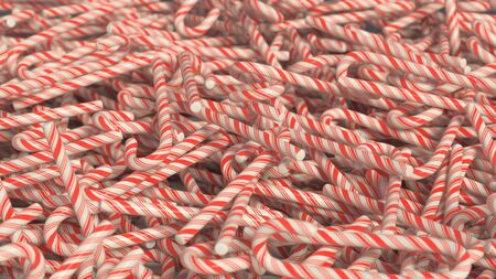 festive occasions: Messy pile of red and white candy canes. This image is a 3D illustration. Stock Photo