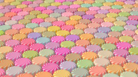 warmly: An ordered array of swirl candy in a assorted, warmly leaning colors. This image is a 3D Illustration.