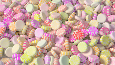 Large pile of colorful swirl candy. This image is a 3D Illustration.