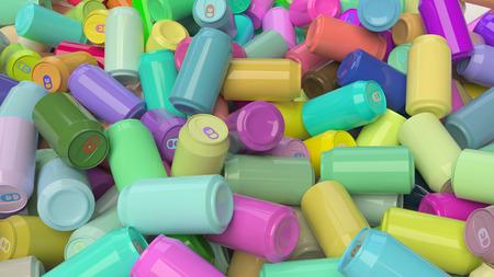 tin packaging: A messy pile of vibrantly colored soda cans. This image is a 3D illustration.