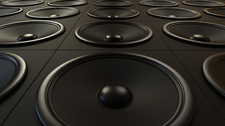 amp: Large arrangement of modern black amplifiers. This image is 3d illustration. Stock Photo