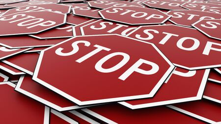 octagonal: Large alligned pile of octagonal stop signs  in red and white. This image is a 3d illustration.