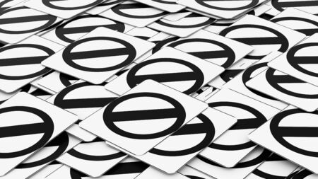 Ordered pile of traffic signs showing a negative sign. This image is a 3d illustration. Stock Photo
