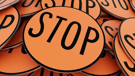 Ordered pile of orange stop signs. This image is a 3d illustration.