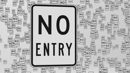 trip hazard: No entry traffic signs floating in empty white space. This image is a 3d illustration.