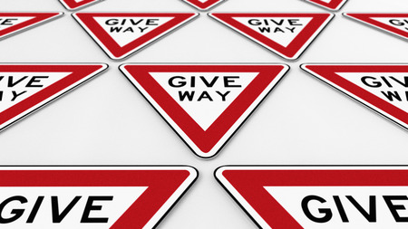 trip hazard sign: Orderer array of give way traffic signs. This image is a 3d illustration.