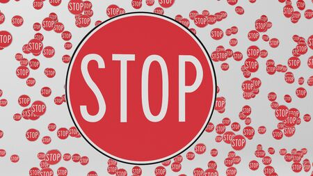 trip hazard: Stop traffic signs floating in empty white space. This image is a 3d illustration.