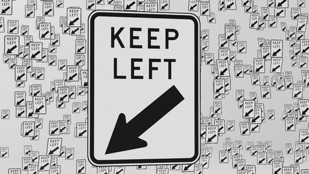 trip hazard: Keep left traffic signs floating in empty white space. This image is a 3d illustration.