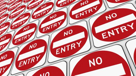 trip hazard: Ordered grid of red no entry signs. This image is a 3d illustration. Stock Photo