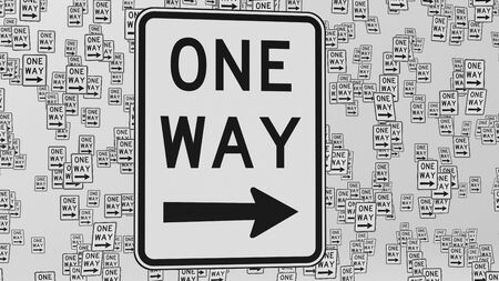 trip hazard sign: Right one way traffic signs floating in empty white space. This image is a 3d illustration.