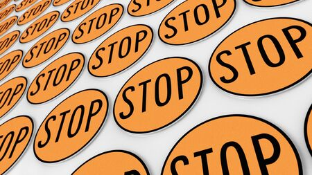 Ordered grid of stop signs. This image is a 3d illustration. Stock Photo