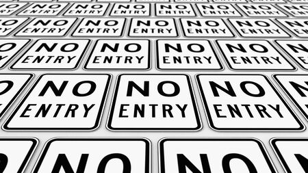 trip hazard: Ordered plane of no entry traffic signs. This image is a 3d illustration.