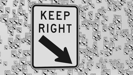 keep in: Keep right traffic signs floating in empty white space. This image is a 3d illustration. Stock Photo